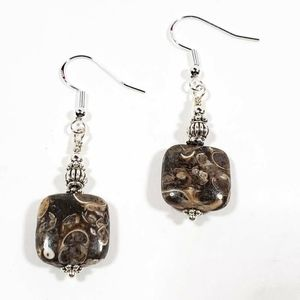 Jewelry - Turritella Agate Square Drop Earrings